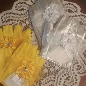 Yellow faux leather Fun  motorcycle gloves